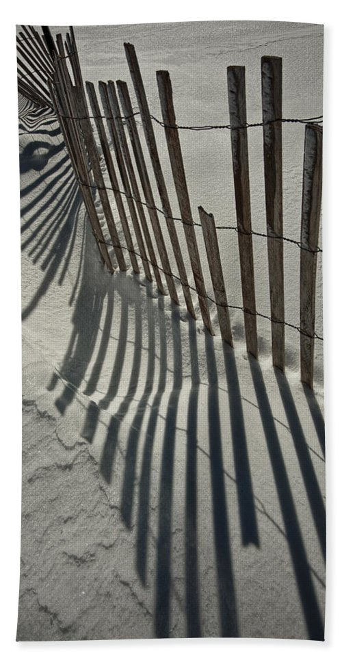 Art Beach Towel featuring the photograph Sand Fence During Winter On The Beach by Randall Nyhof