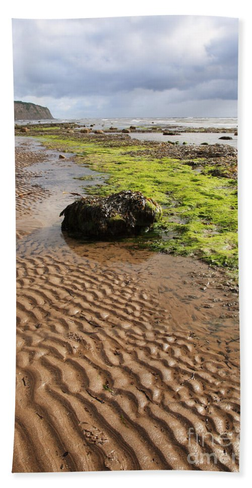Beach Beach Towel featuring the photograph Sand Patterns On Robin Hoods Bay Beach by Deborah Benbrook