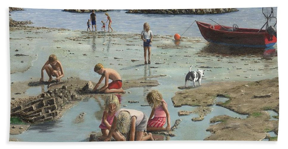 Landscape Beach Towel featuring the painting Sandcastles by Richard Harpum
