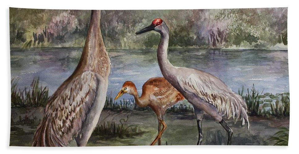 Sandhill Cranes Beach Towel featuring the painting Sandhill Cranes On Alert by Roxanne Tobaison