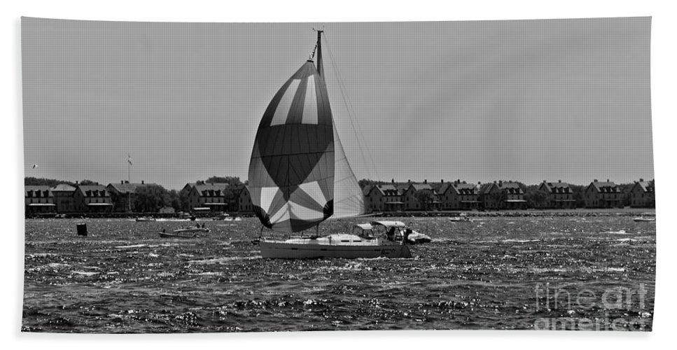 Sailboat Beach Towel featuring the photograph Sandy Hook Sailing II by Lilliana Mendez