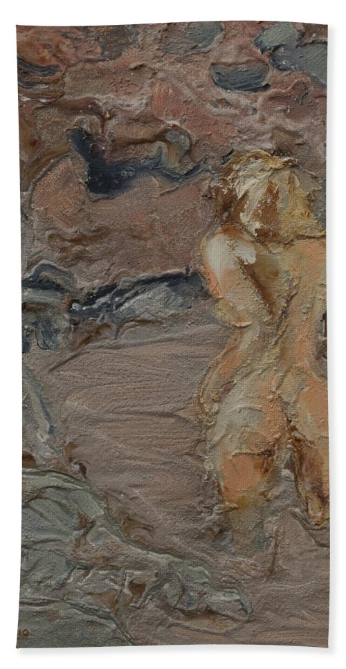 Naked Beach Towel featuring the painting Sandy Pool. by Peregrine Roskilly