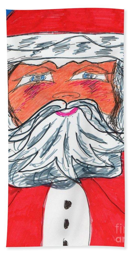 Santa Claus Beach Towel featuring the mixed media Santa Claus by Elinor Helen Rakowski