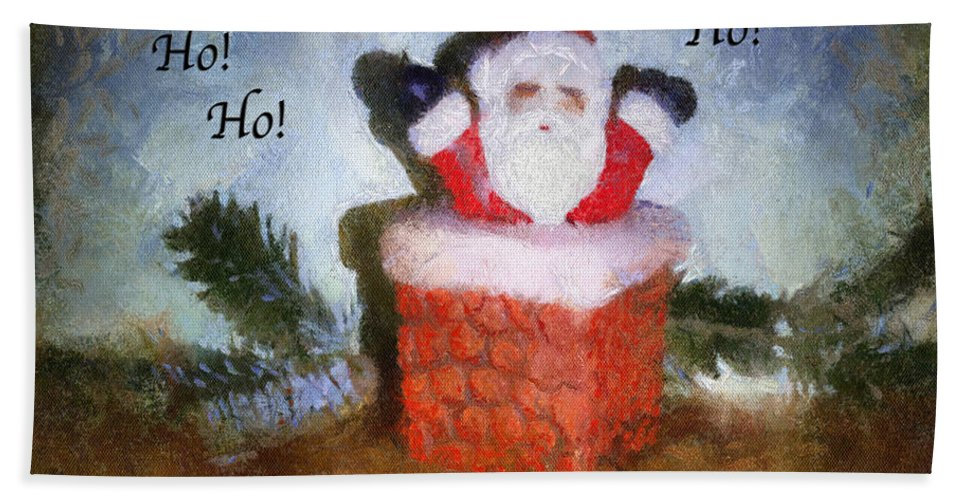 Christmas Beach Towel featuring the photograph Santa Ho Ho Ho Photo Art by Thomas Woolworth