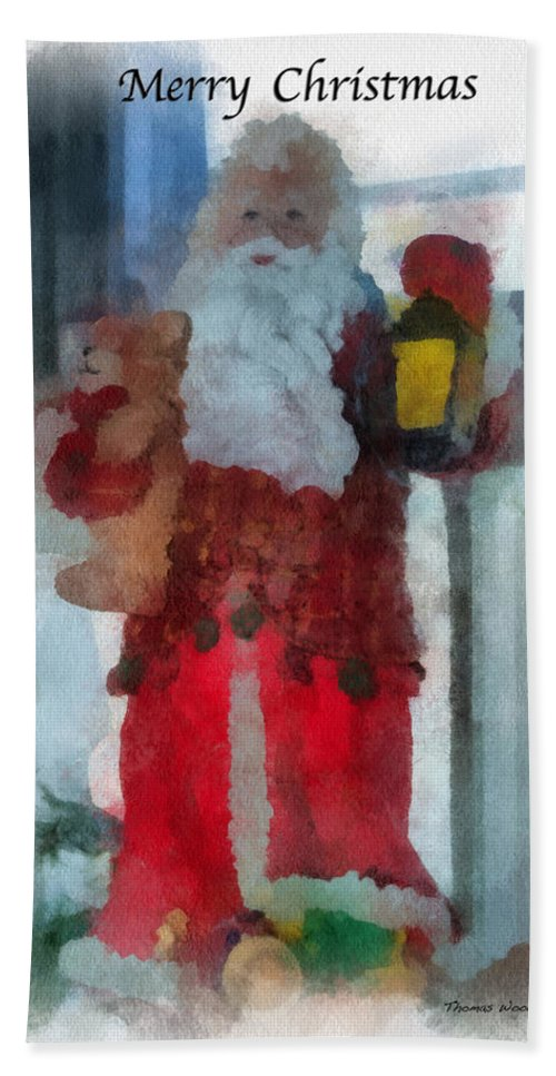 Christmas Beach Towel featuring the photograph Santa Merry Christmas Photo Art 02 by Thomas Woolworth
