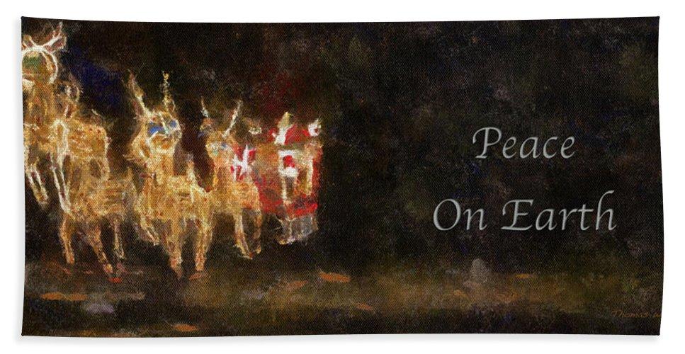 Christmas Beach Towel featuring the photograph Santa Peace On Earth Photo Art 01 by Thomas Woolworth