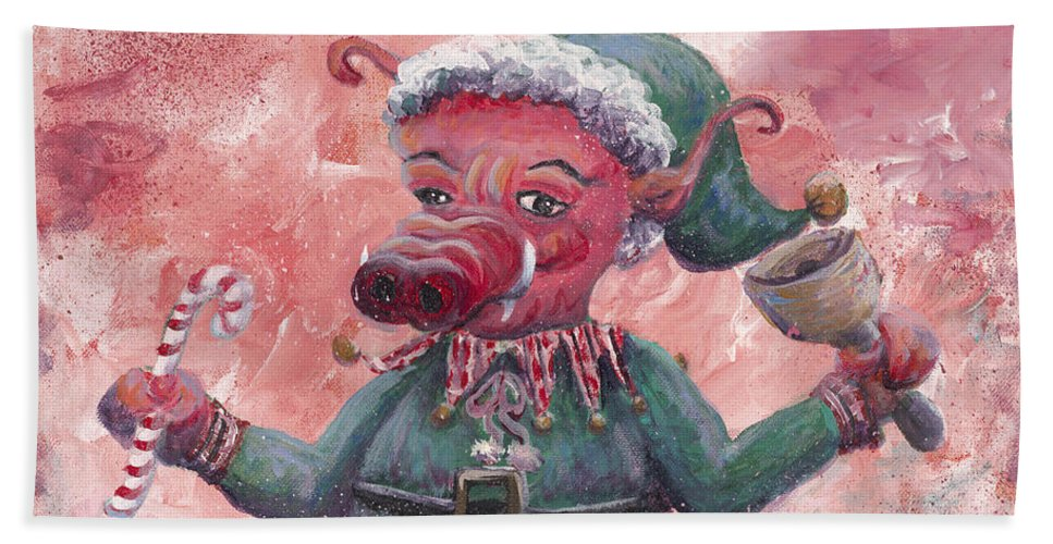Elf Beach Towel featuring the painting Santa's Littlest Elf Hog by Nadine Rippelmeyer