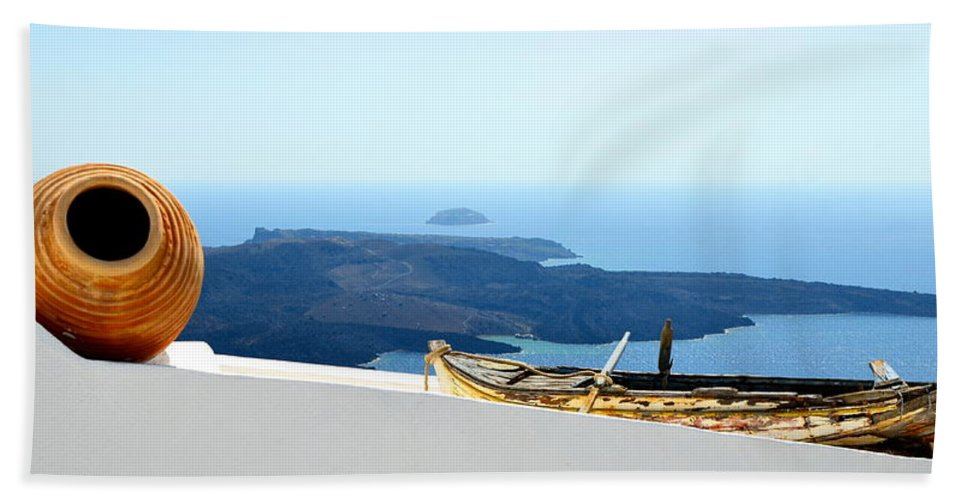 Santorini Beach Towel featuring the photograph Santorini Rooftop by Corinne Rhode