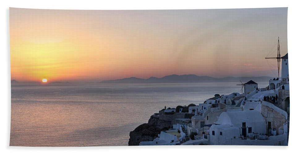 Island Beach Towel featuring the photograph Santorini Sunset by Jack Daulton