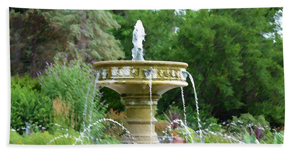 Sarah Lee Baker Perennial Garden Beach Towel featuring the painting Sarah Lee Baker Perennial Garden 6 by Jeelan Clark