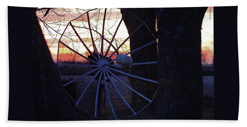 Trees Beach Towel featuring the photograph Satellite Sunset by Wayne Williams