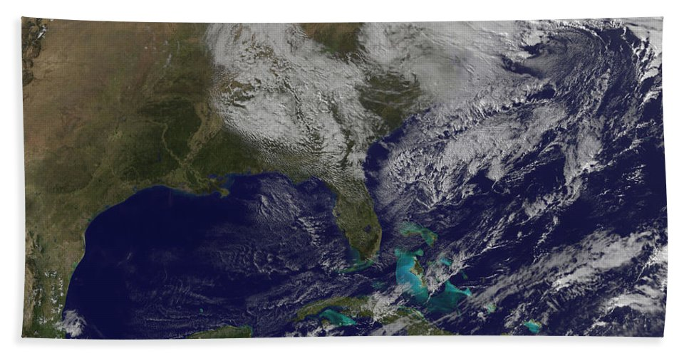 Horizontal Beach Towel featuring the photograph Satellite View Of A Noreaster Storm by Stocktrek Images