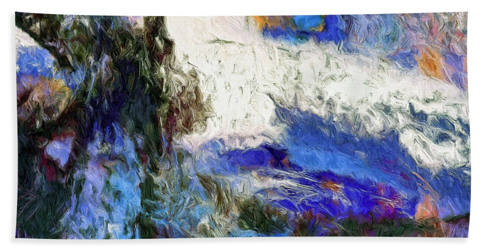 Abstract Beach Towel featuring the painting Sausalito by Dominic Piperata