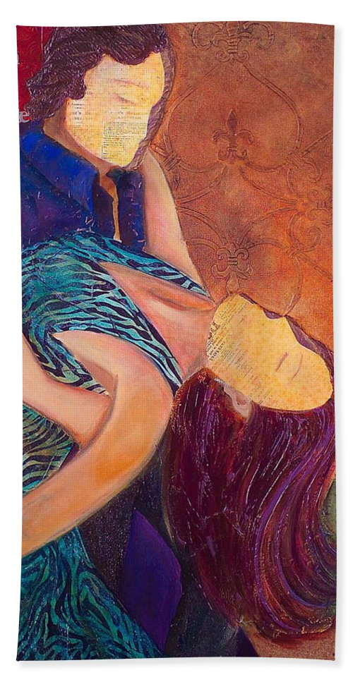 Man Beach Towel featuring the painting Save The Last Dance by Debi Starr
