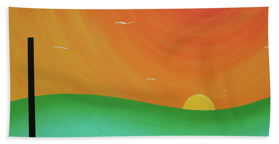 Abstract Beach Towel featuring the painting Scape by Ric Bascobert