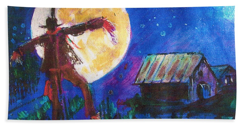 Scarecrow Dancing With The Moon Beach Towel featuring the painting Scarecrow Dancing With The Moon by Seth Weaver