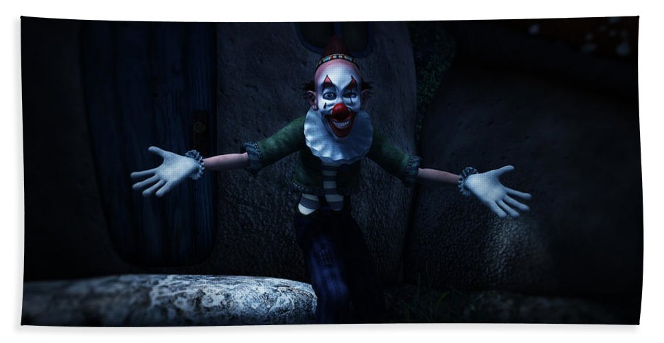 Scary Beach Towel featuring the digital art Scary Clown by Ramon Martinez