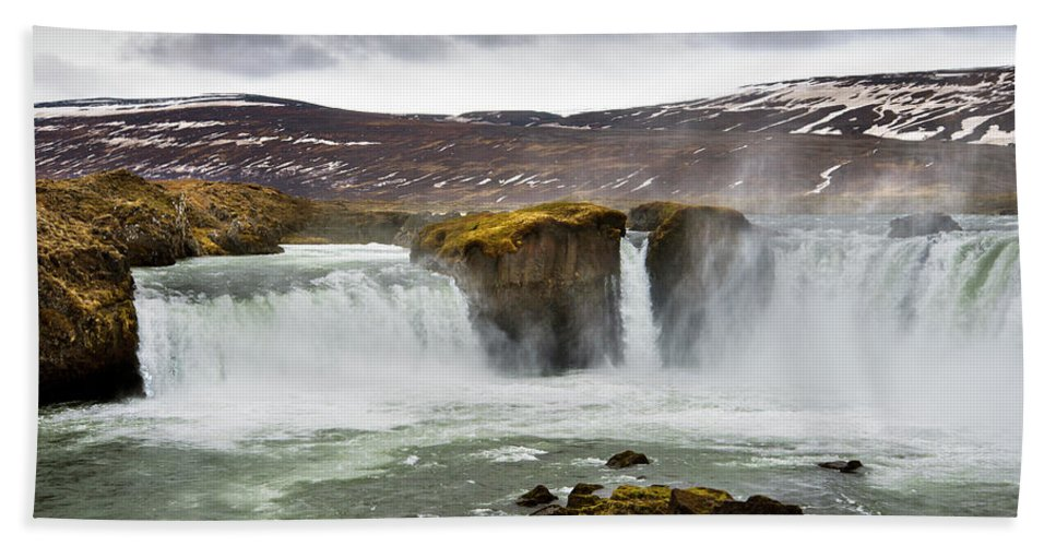 Color Image Beach Towel featuring the photograph Scenic View Of Godafoss Waterfall by Blake Burton