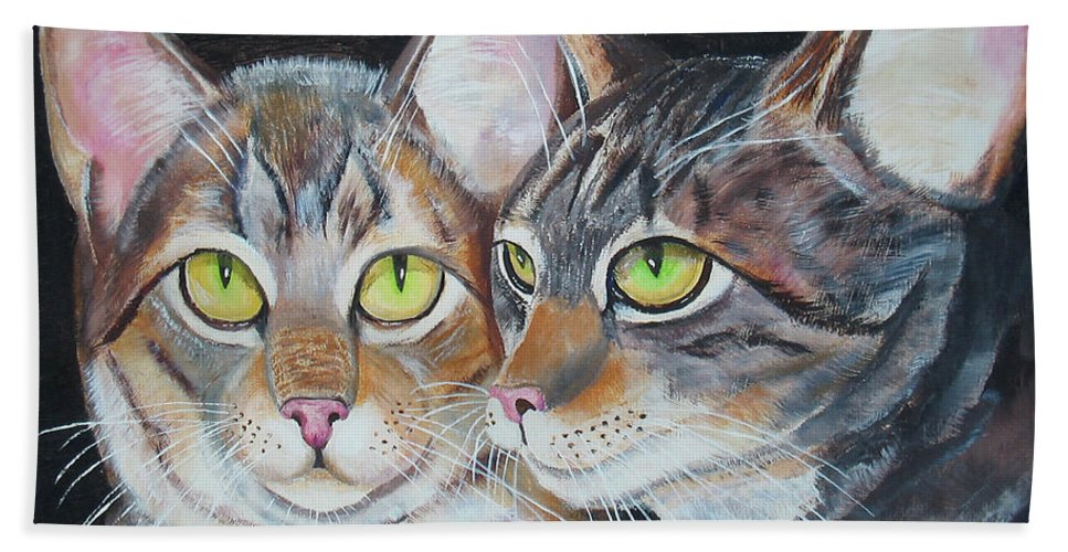 Cats Beach Towel featuring the painting Scheming Cats by Thomas J Herring