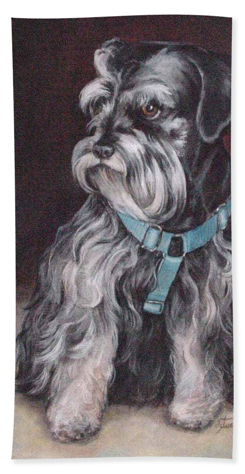 Nature Beach Towel featuring the painting Schnauzer by Donna Tucker