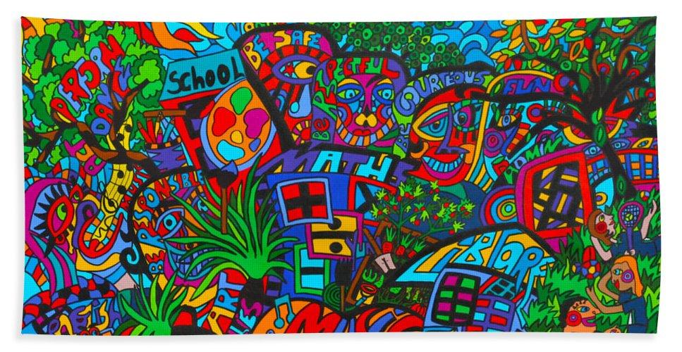 School Painting Beach Towel featuring the painting Schools In by Karen Elzinga