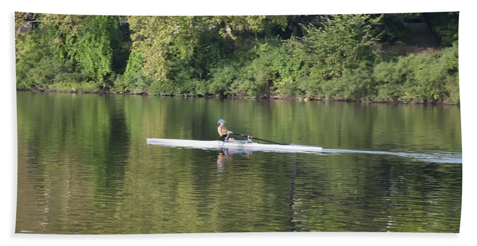 Schuylkill Beach Towel featuring the photograph Schuylkill Rower by Bill Cannon