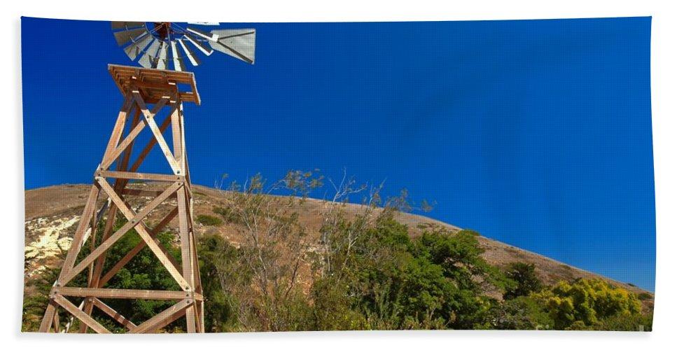 Scorpion Ranch Beach Towel featuring the photograph Scorpion Windmill by Adam Jewell
