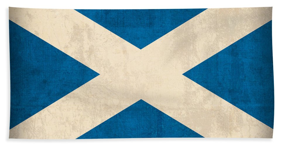 Scotland Flag Vintage Distressed Finish Beach Towel featuring the mixed media Scotland Flag Vintage Distressed Finish by Design Turnpike