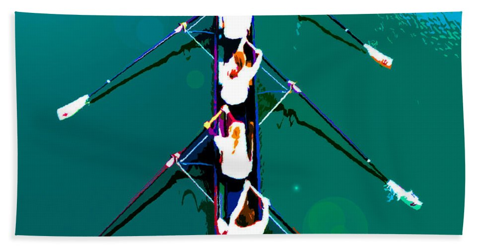Rowing Beach Towel featuring the painting Rowing in the sun by David Lee Thompson