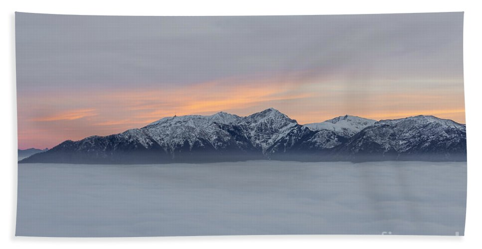 Sea Of Fog Beach Towel featuring the photograph Sea Of Fog And Snow-capped Mountain In Sunset by Mats Silvan