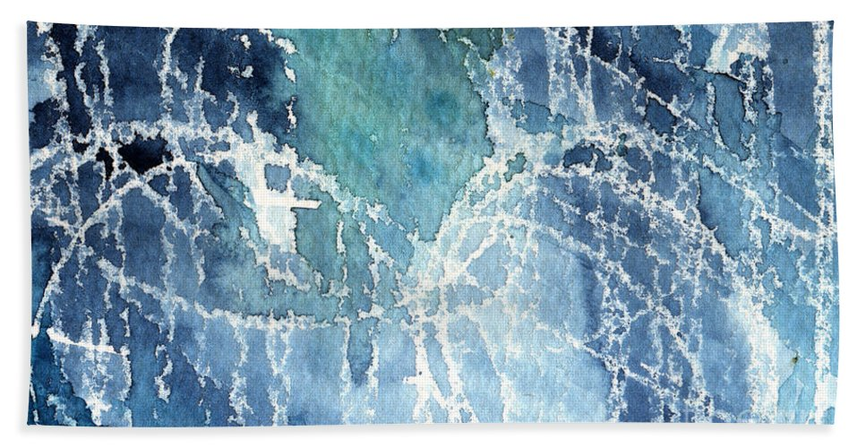 Abstract Painting Beach Towel featuring the painting Sea Spray by Linda Woods