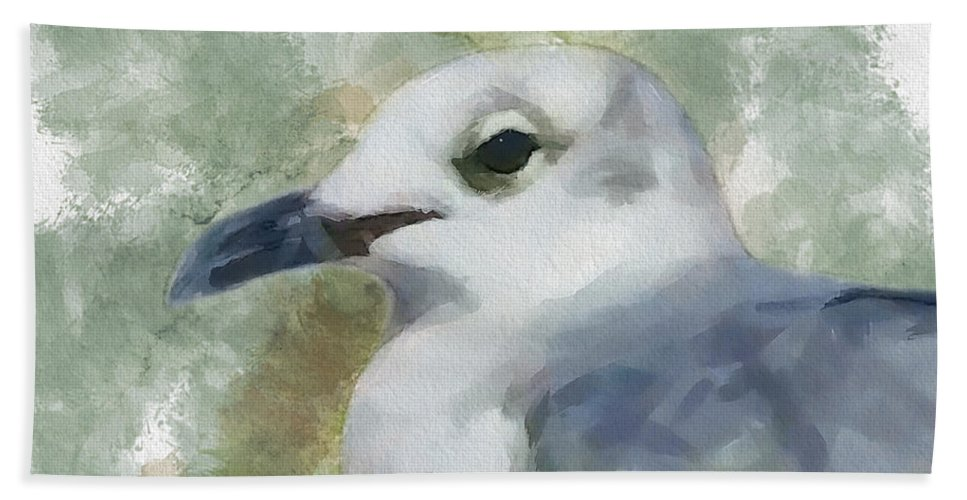 Seagull Beach Towel featuring the painting Seagull Closeup by Greg Collins