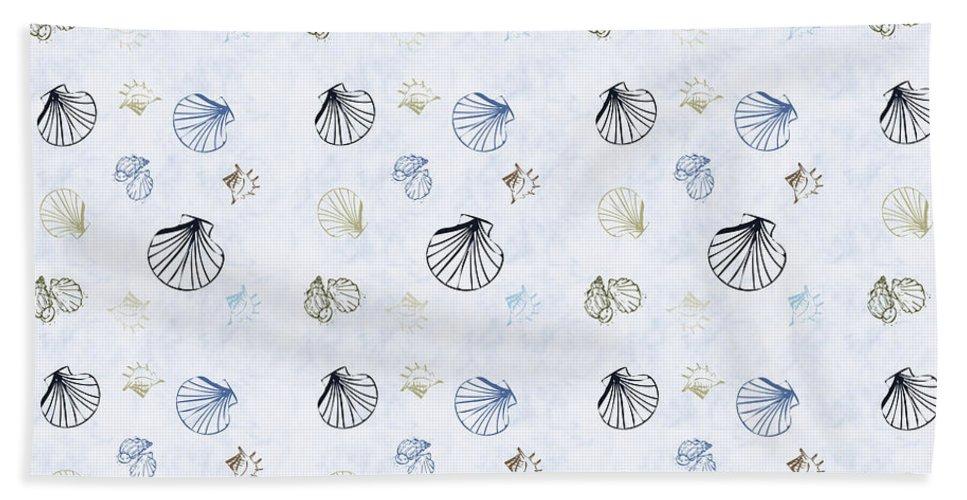 Seashell Beach Towel featuring the mixed media Seashell Pattern by Christina Rollo