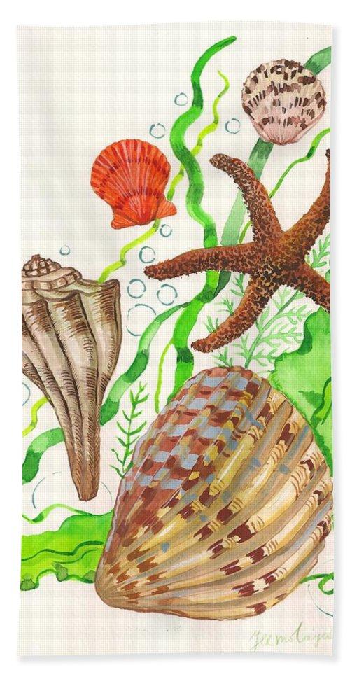 Watercolor Beach Towel featuring the painting Seashells by Margaryta Yermolayeva