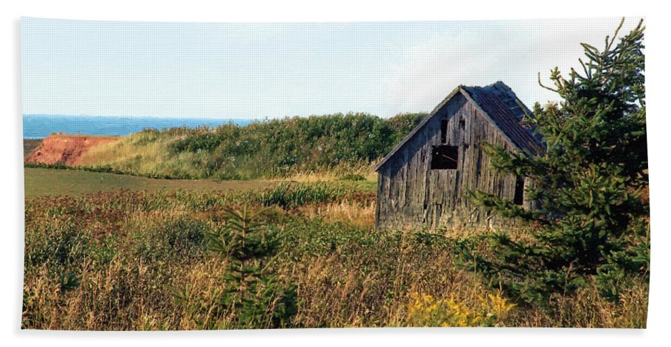 Landscape Beach Towel featuring the painting Seaside Shed - September by RC DeWinter