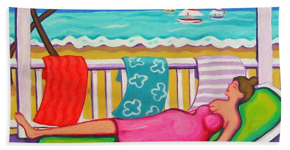Whimsical Beach Beach Towel featuring the painting Seaside Siesta by Rebecca Korpita