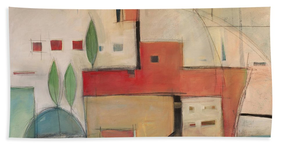 Villa Beach Towel featuring the painting Seaside Villa by Tim Nyberg