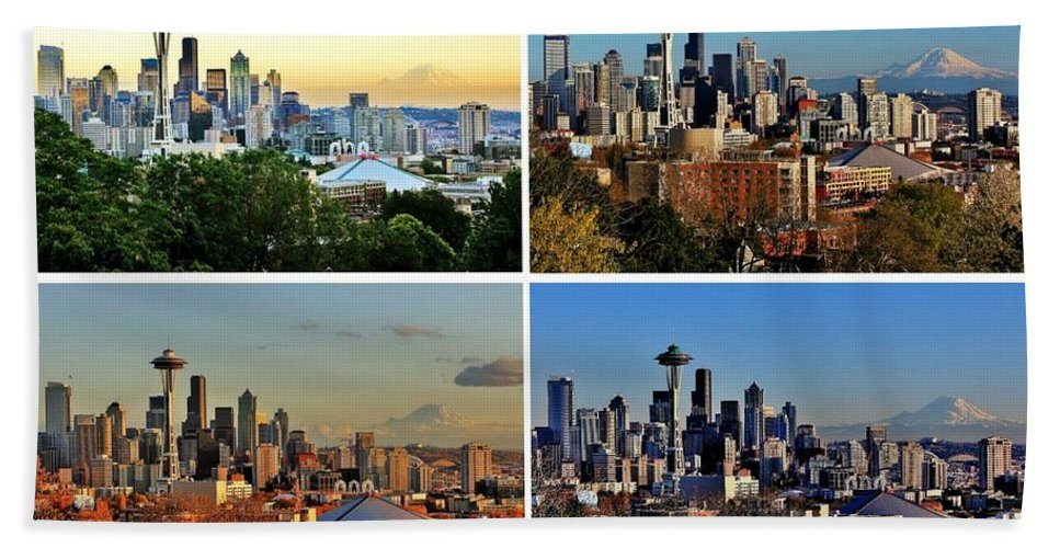 Seattle Beach Towel featuring the photograph Seasons Of Seattle White by Benjamin Yeager