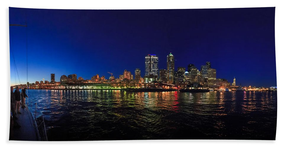Seattle Beach Towel featuring the photograph Seattle City Skyline Romance Panorama by Scott Campbell
