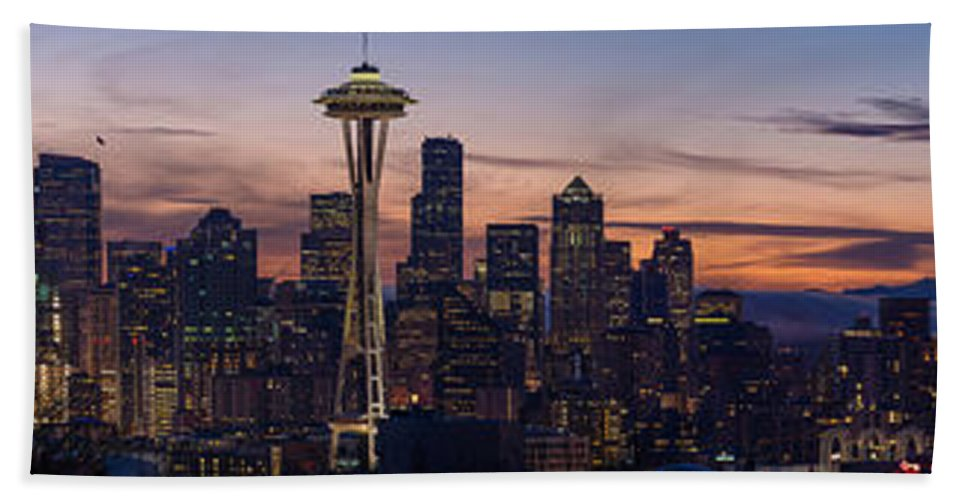 Seahawks Beach Towel featuring the photograph Seattle Cityscape Morning Light by Mike Reid