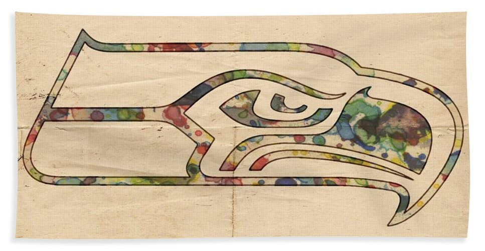 Seattle Seahawks Beach Towel featuring the painting Seattle Seahawks Poster Art by Florian Rodarte