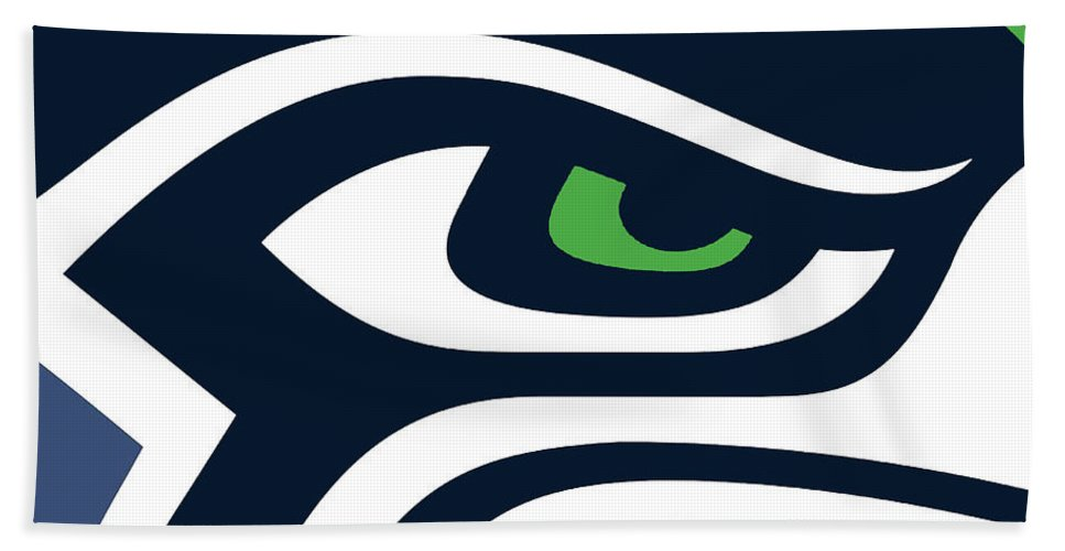 Seattle Beach Towel featuring the painting Seattle Seahawks by Tony Rubino