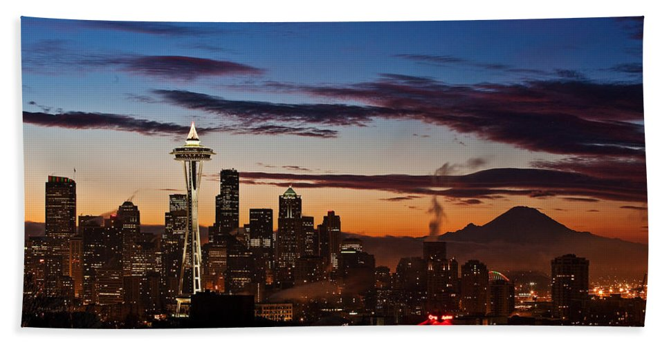 Seattle Beach Towel featuring the photograph Seattle Sunrise by Mike Reid