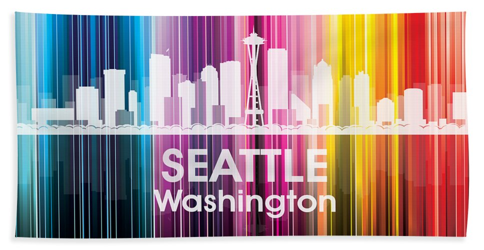 Seattle Beach Towel featuring the mixed media Seattle Wa 2 by Angelina Vick