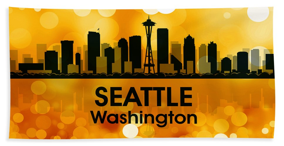 Seattle Beach Towel featuring the mixed media Seattle Wa 3 by Angelina Vick