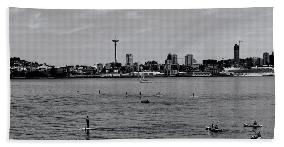 Beach Towel featuring the photograph Seattle Waterfront Bw 2 by Cathy Anderson