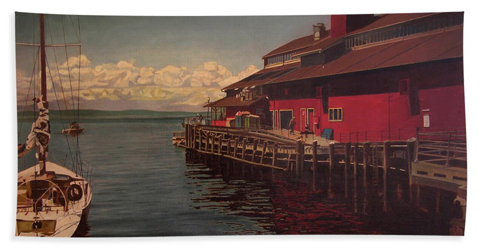 Marina Beach Towel featuring the painting Seattle Waterfront by Thu Nguyen