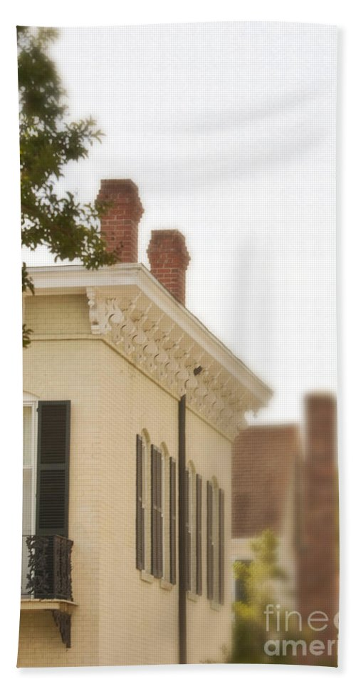 House; Home; Facade; Windows; Details; Gingerbread; Iron; Wrought Iron; Row; Neighborhood; Victorian; Ornate; Architecture; Building; Drapes; Curtains; Blinds; Corner; Brick; Painted; Upstairs; Ornate; French Creole; Balcony; Juliette; Balcony; Fancy; Decorative Beach Towel featuring the photograph Second Story by Margie Hurwich