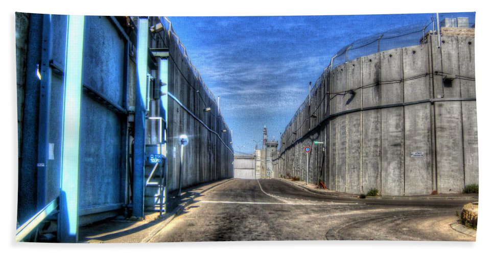 Western Wall Beach Towel featuring the photograph Security Wall by Doc Braham