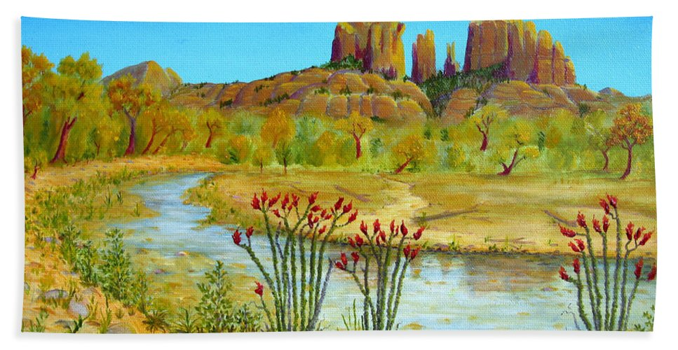 Sedona Beach Towel featuring the painting Sedona Arizona by Jerome Stumphauzer